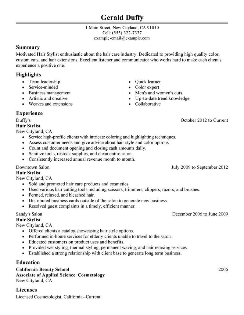 best hair stylist resume example livecareer cosmetology sample salon spa fitness classic Resume Cosmetology Resume Sample
