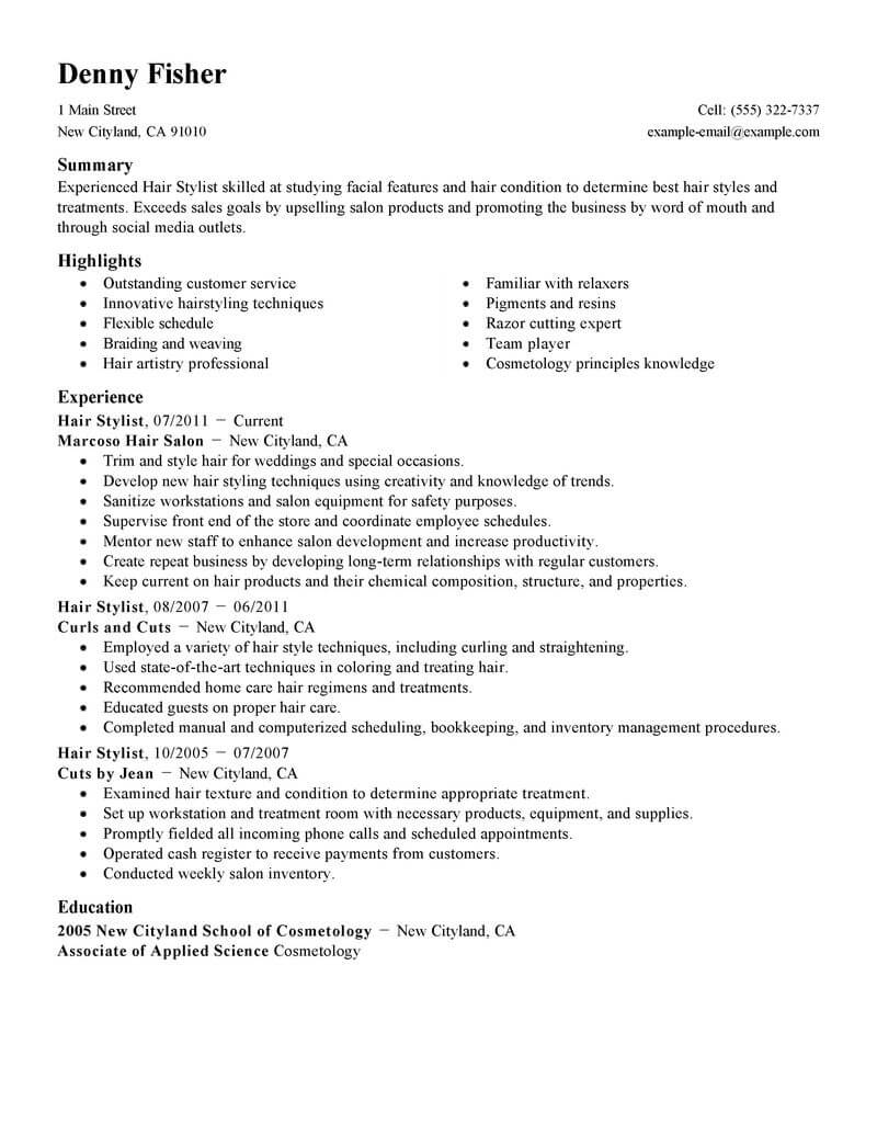best hair stylist resume example livecareer template personal care services standard Resume Hair Stylist Resume Template