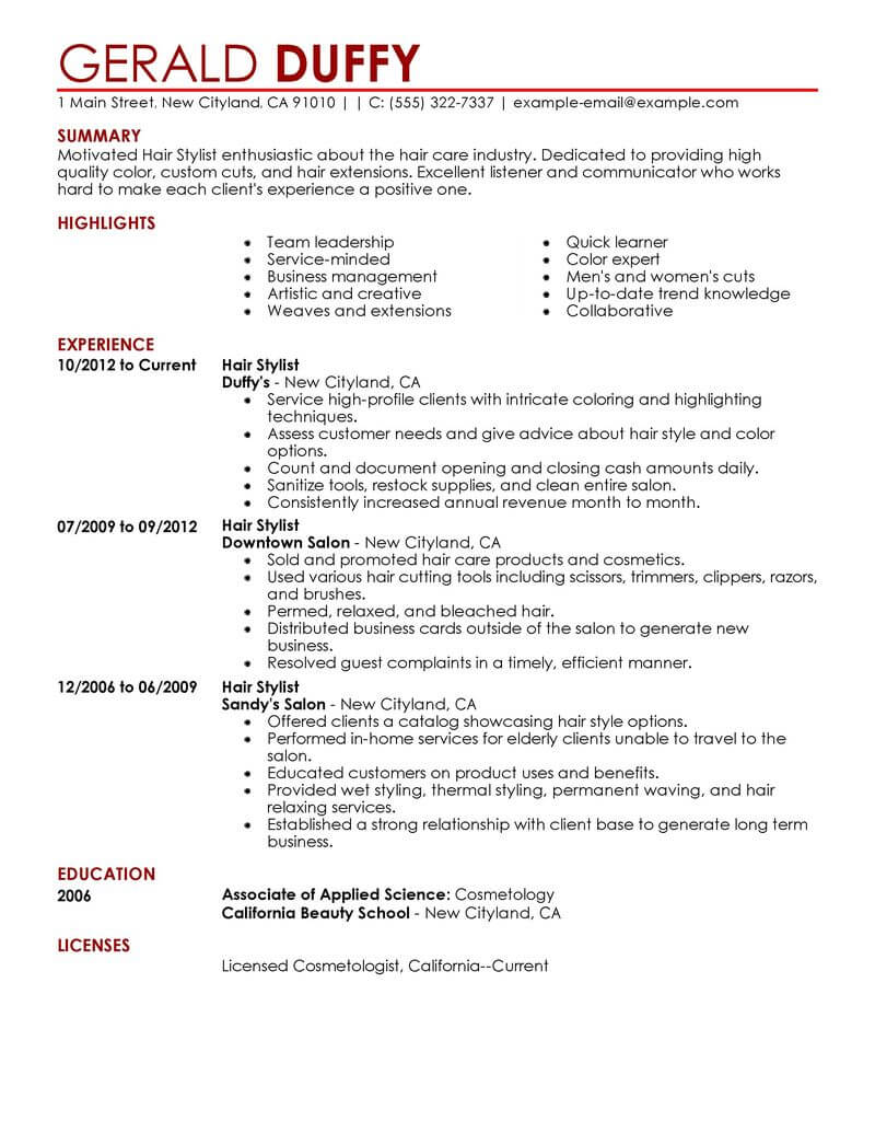 best hair stylist resume example livecareer template salon spa fitness contemporary Resume Hair Stylist Resume Template