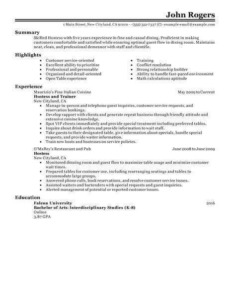 best host hostess resume example from professional writing service job examples behavior Resume Hostess Job Resume Examples