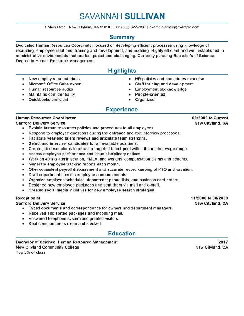 best hr coordinator resume example livecareer good examples writing services police omaha Resume Police Resume Writing Services