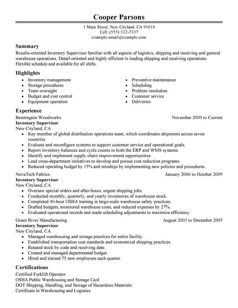best inventory supervisor resume example livecareer objective production classic Resume Supervisor Resume Objective