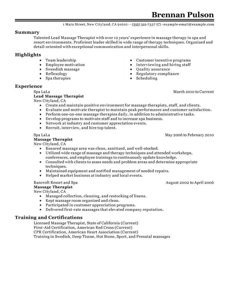 best lead massage therapist resume example from professional writing service new examples Resume New Massage Therapist Resume Examples
