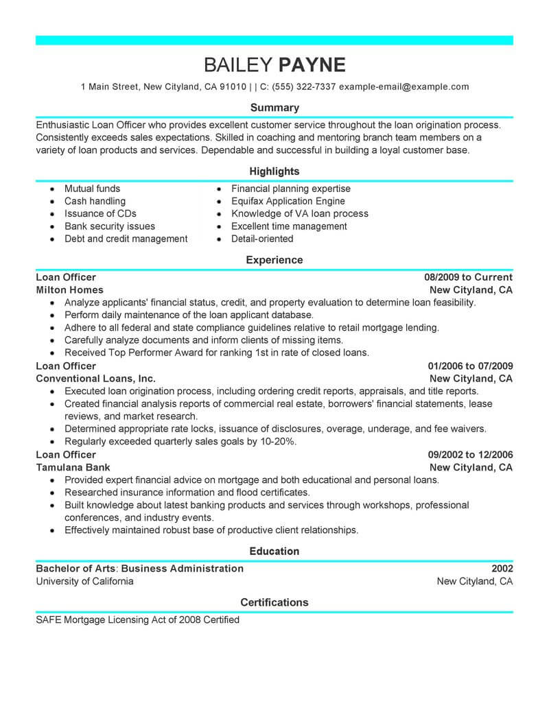 best loan officer resume example livecareer examples finance modern services tampa sample Resume Loan Officer Resume Examples