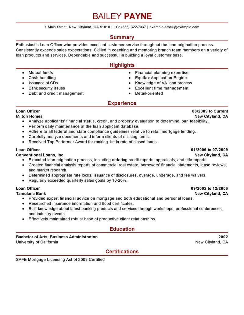 best loan officer resume example livecareer examples finance modern teacher technical Resume Loan Officer Resume Examples
