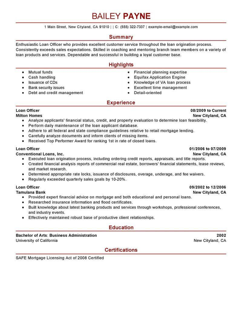 best loan officer resume example livecareer job samples examples security mortgage broker Resume Mortgage Broker Job Description Resume