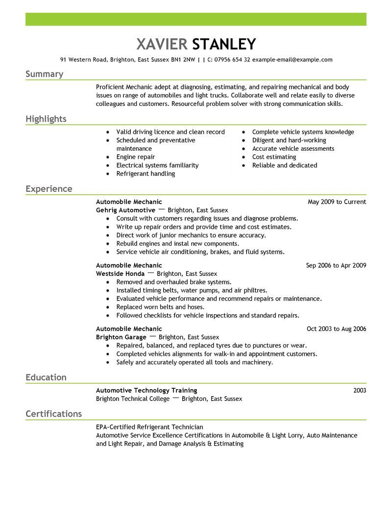 best mechanic resume example livecareer summary examples objective automobile format for Resume Automobile Resume Format For Freshers