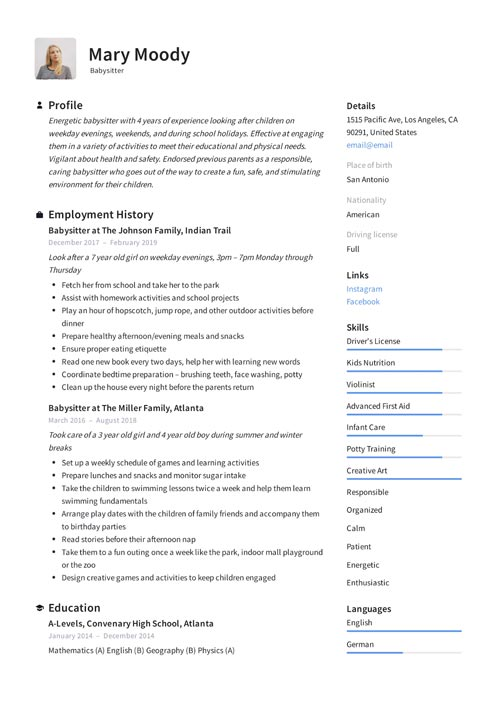 best nanny resume examples babysitter child care provider resumes duties of for example3 Resume Duties Of Babysitter For Resume