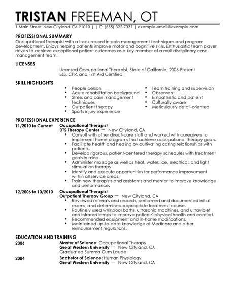best occupational therapist resume example livecareer self motivated examples healthcare Resume Self Motivated Resume Examples