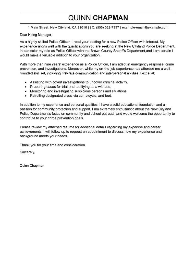 best police officer cover letter examples livecareer resume law enforcement security Resume Police Resume Cover Letter