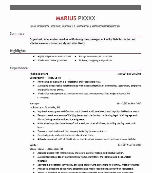 best public relations resume example livecareer hospitality associate core strengths Resume Public Relations Resume