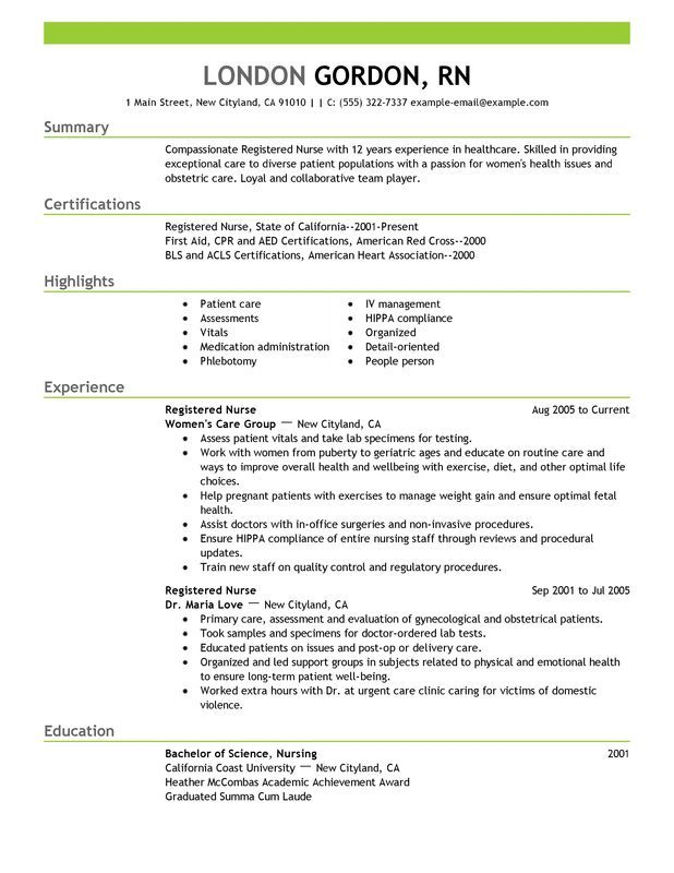 best registered nurse resume example for myperfectresume recipe nursing template examples Resume Detailed Resume For Nurses