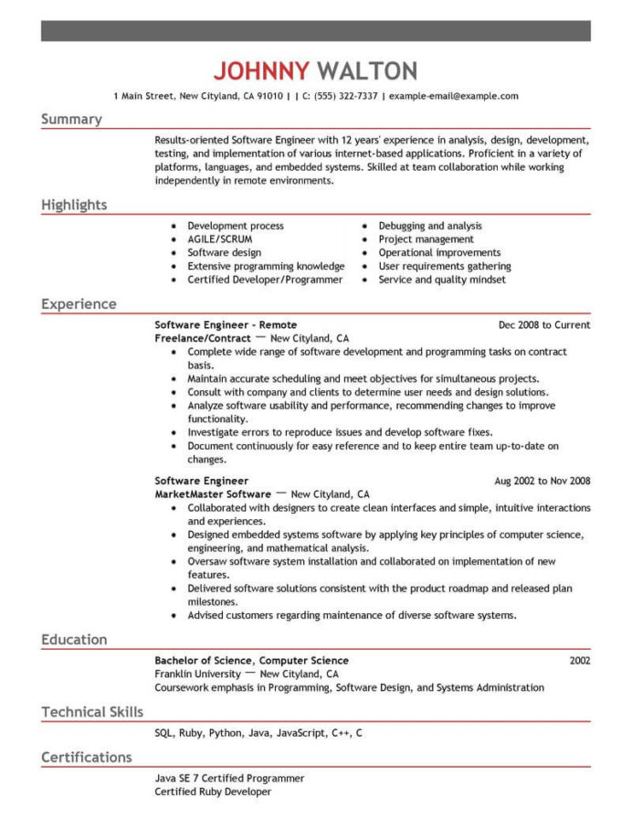 software engineer resume template developer examples preparation for experienced samples Resume Resume Preparation For Experienced Software Engineer