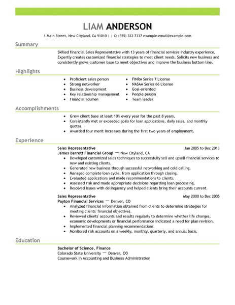 best representative resume example livecareer medical objective acounting finance Resume Medical Representative Objective Resume