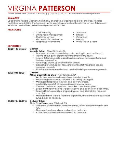 best restaurant cashier resume example livecareer title on food contemporary 463x600 Resume Cashier Title On Resume