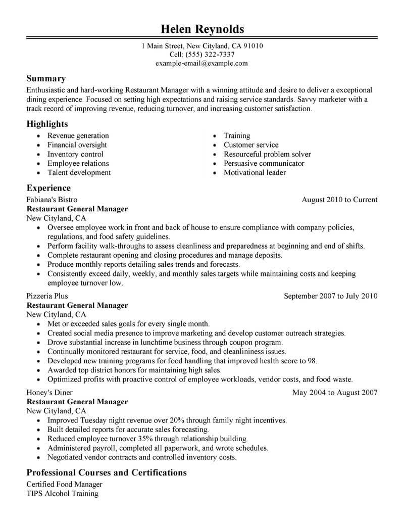 best restaurant manager resume example livecareer food service management classic Resume Food Service Manager Resume