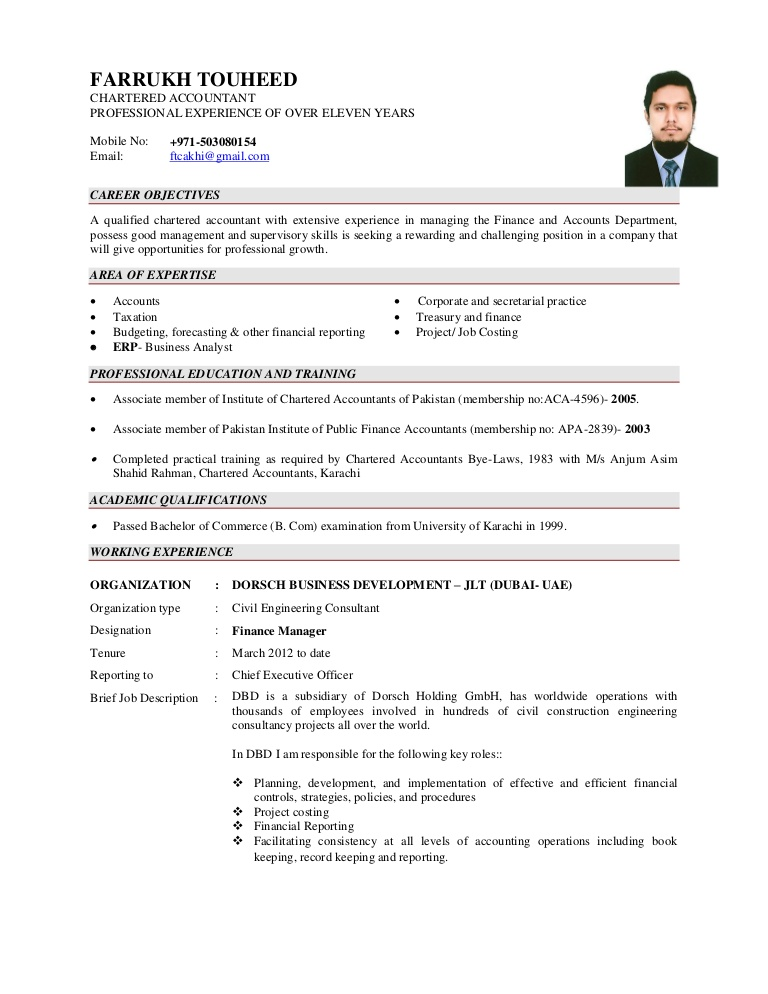best resume format for chartered accountant cv farrukhtouheed phpapp02 thumbnail ask Resume Chartered Accountant Resume Format Download