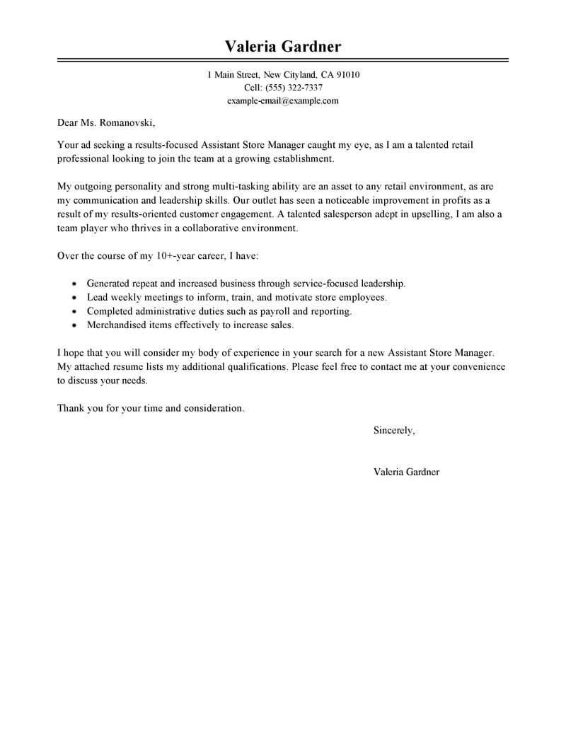 best retail assistant store manager cover letter examples livecareer sample resume for Resume Sample Resume For Aldi Retail Assistant