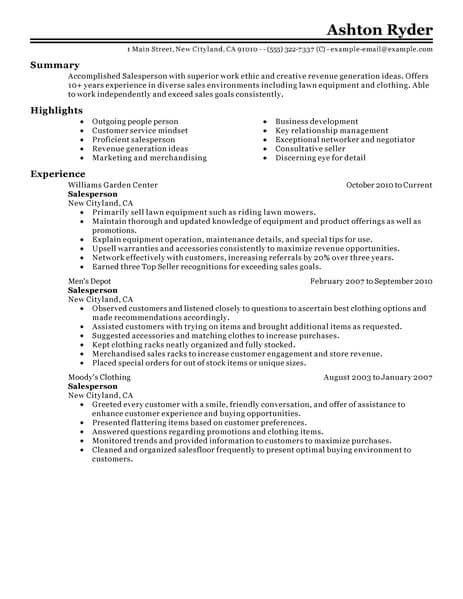 best retail salesperson resume example livecareer job duties for classic 463x600 Resume Retail Job Duties For Resume