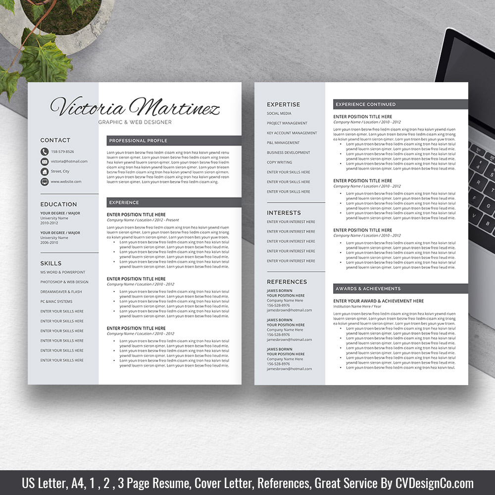best selling ms office word resume cv bundle the templates cover letter references for Resume Two Page Resume Template Word