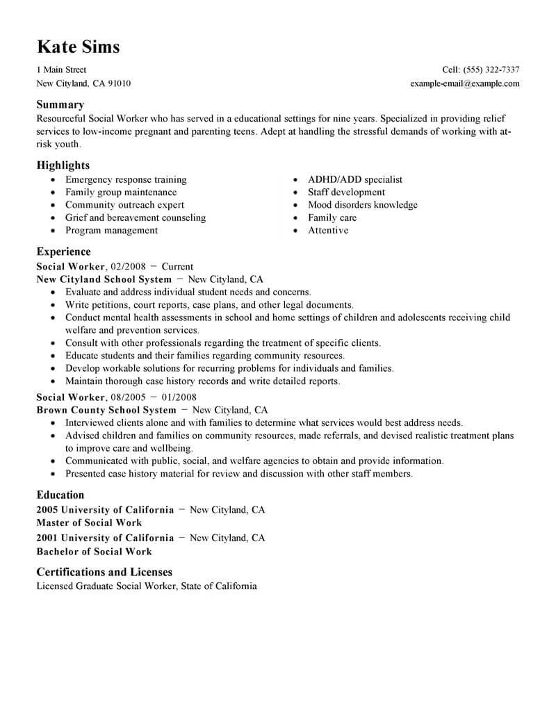 best social worker resume example livecareer community service services standard self Resume Community Service Worker Resume Example