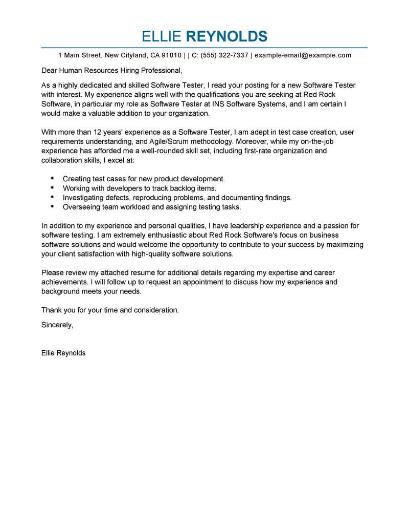 best software testing cover letter examples livecareer for manual resume it professional Resume Cover Letter For Manual Testing Resume