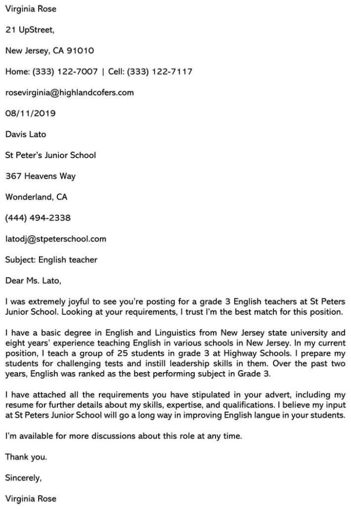 best teaching cover letter sample and email example resume for position 710x1030 academic Resume Resume Cover Letter For A Teaching Position
