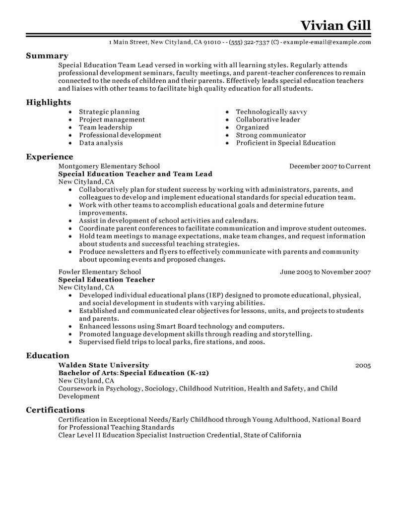 best team lead resume example livecareer objective for leadership position education Resume Resume Objective For Leadership Position