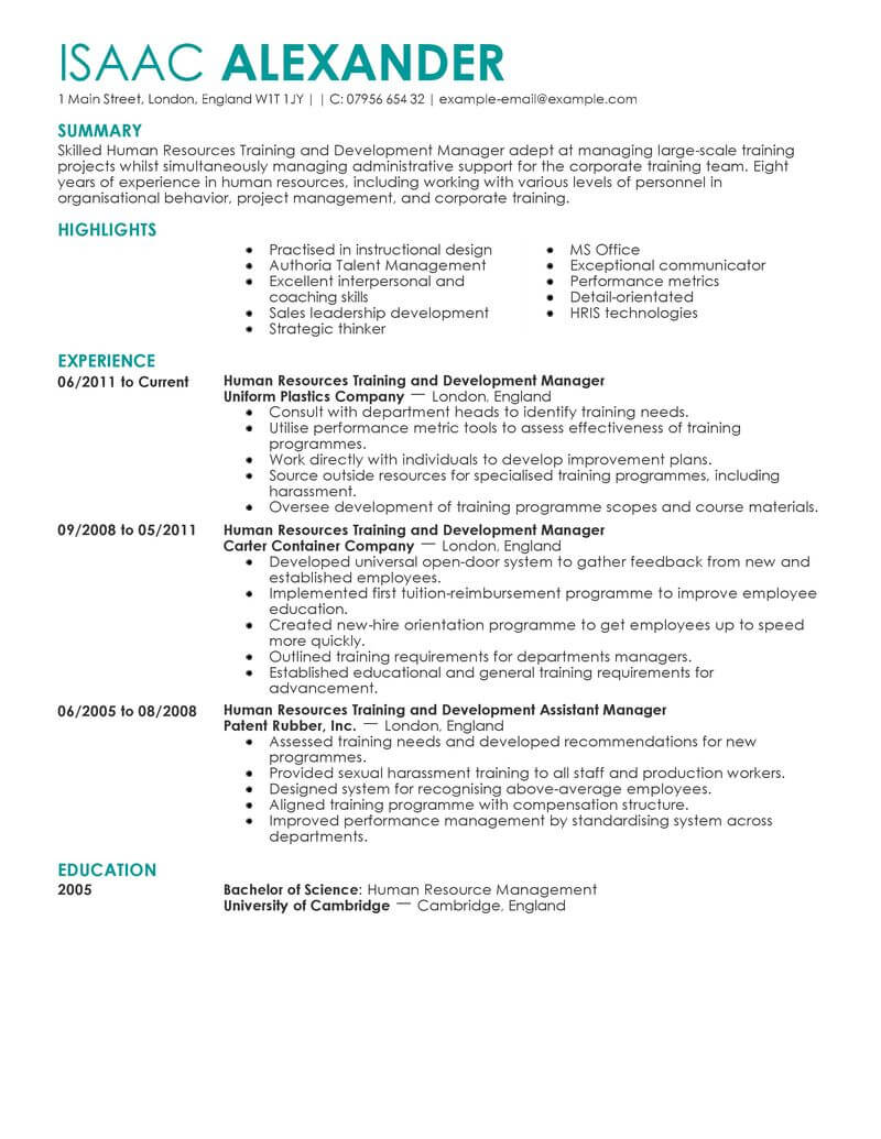 best training and development manager resume example livecareer help train new employees Resume Help Train New Employees On Resume
