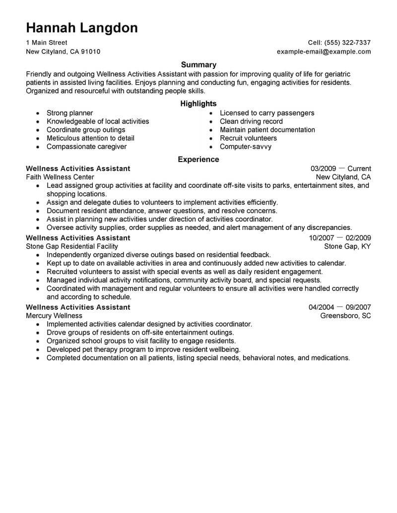 best wellness activities assistant resume example livecareer and honors sample space Resume Activities And Honors Resume Sample