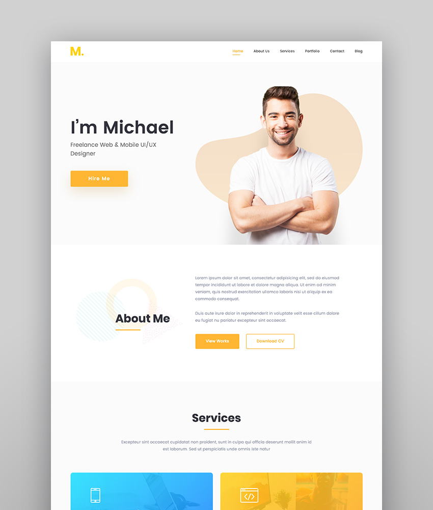 best wordpress resume themes for your personal website free premium michael modern Resume Best Free Wordpress Resume Themes