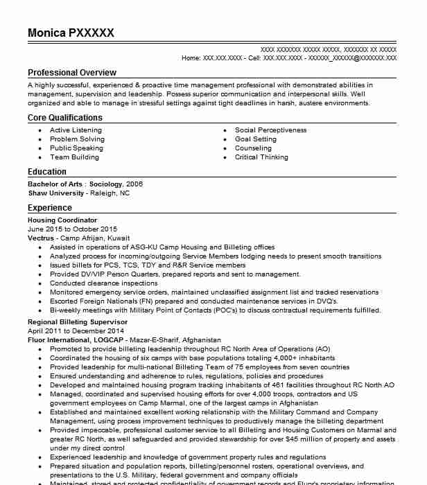 billeting coordinator resume example dyncorp international logcap iv aguadilla puerto Resume Billeting Coordinator Resume