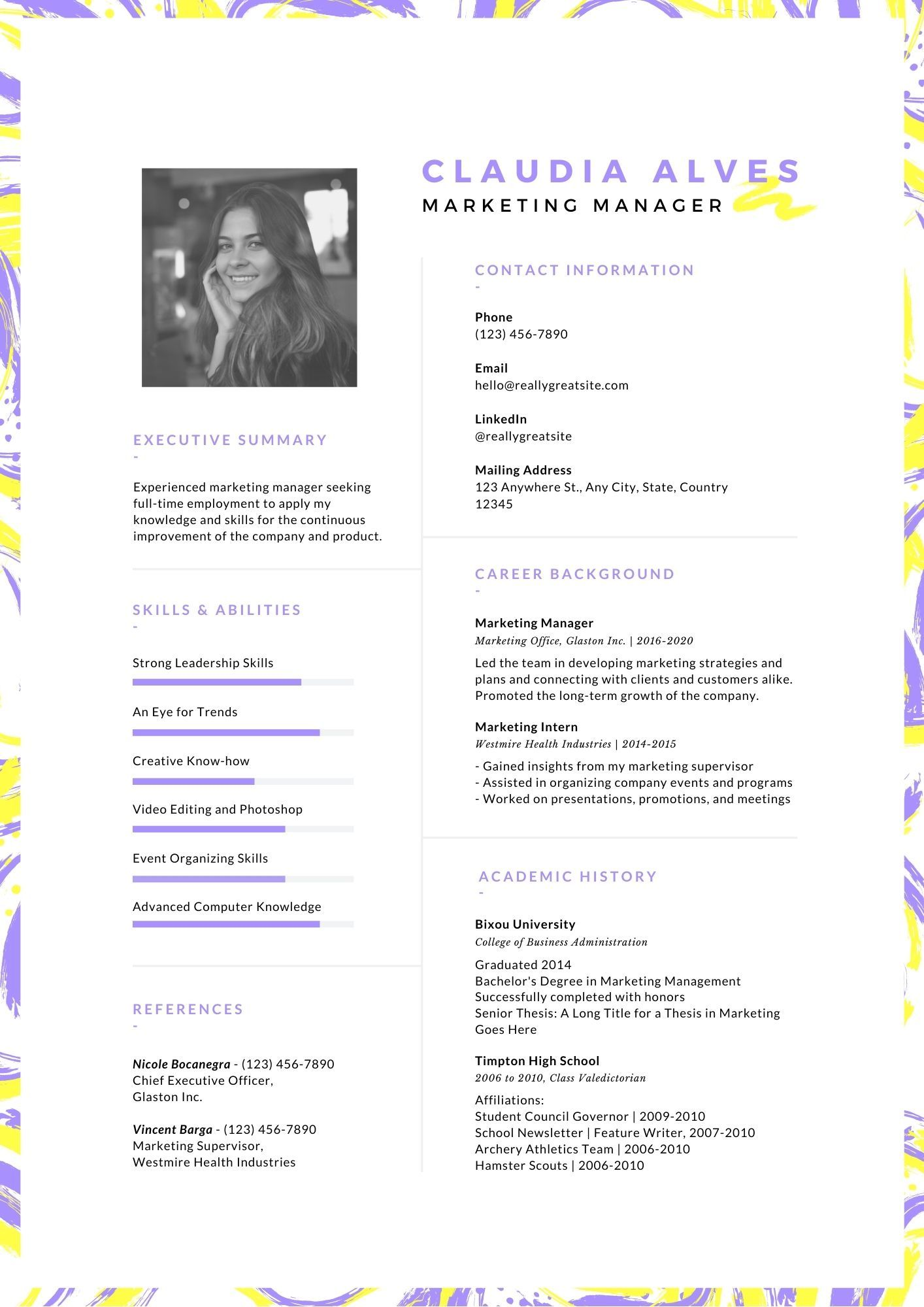 biodata format for job to write free ms word resume purple and yellow creative substitute Resume Biodata Resume Format For Job