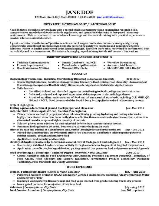 biotechnology resume templates samples examples for freshers manual testing sample Resume Resume For Biotechnology Freshers