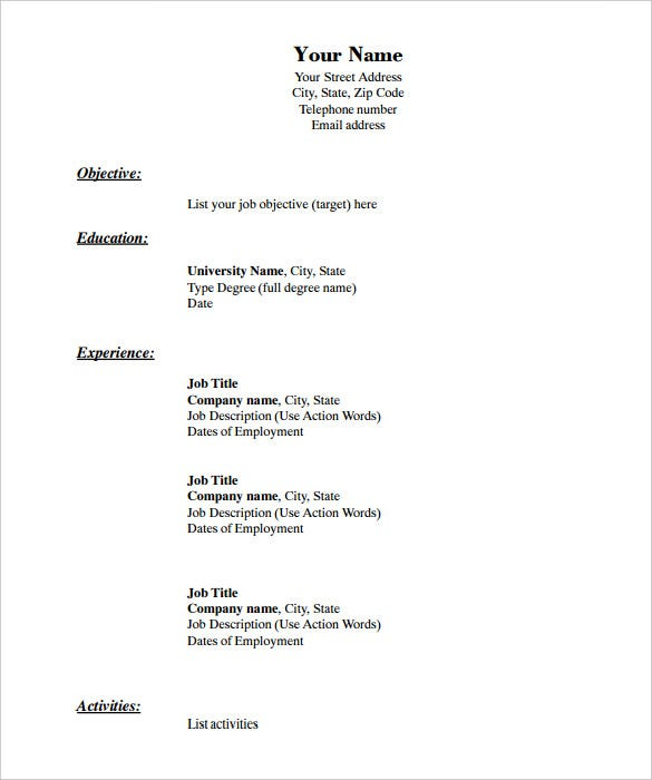 blank resume templates pdf free premium template chronological format in onet builder Resume Download Blank Resume Template