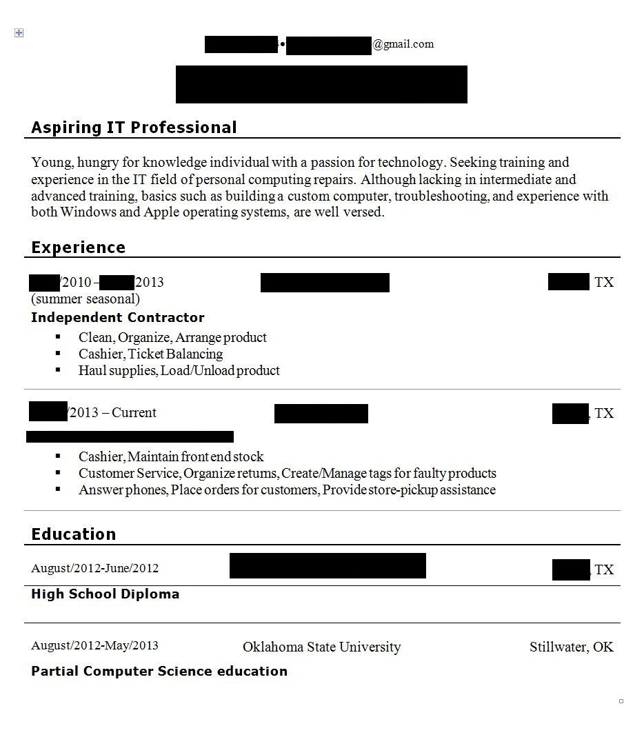 branding statement criticism blacked out sections are names locations resumes resume Resume Resume Branding Statement Examples