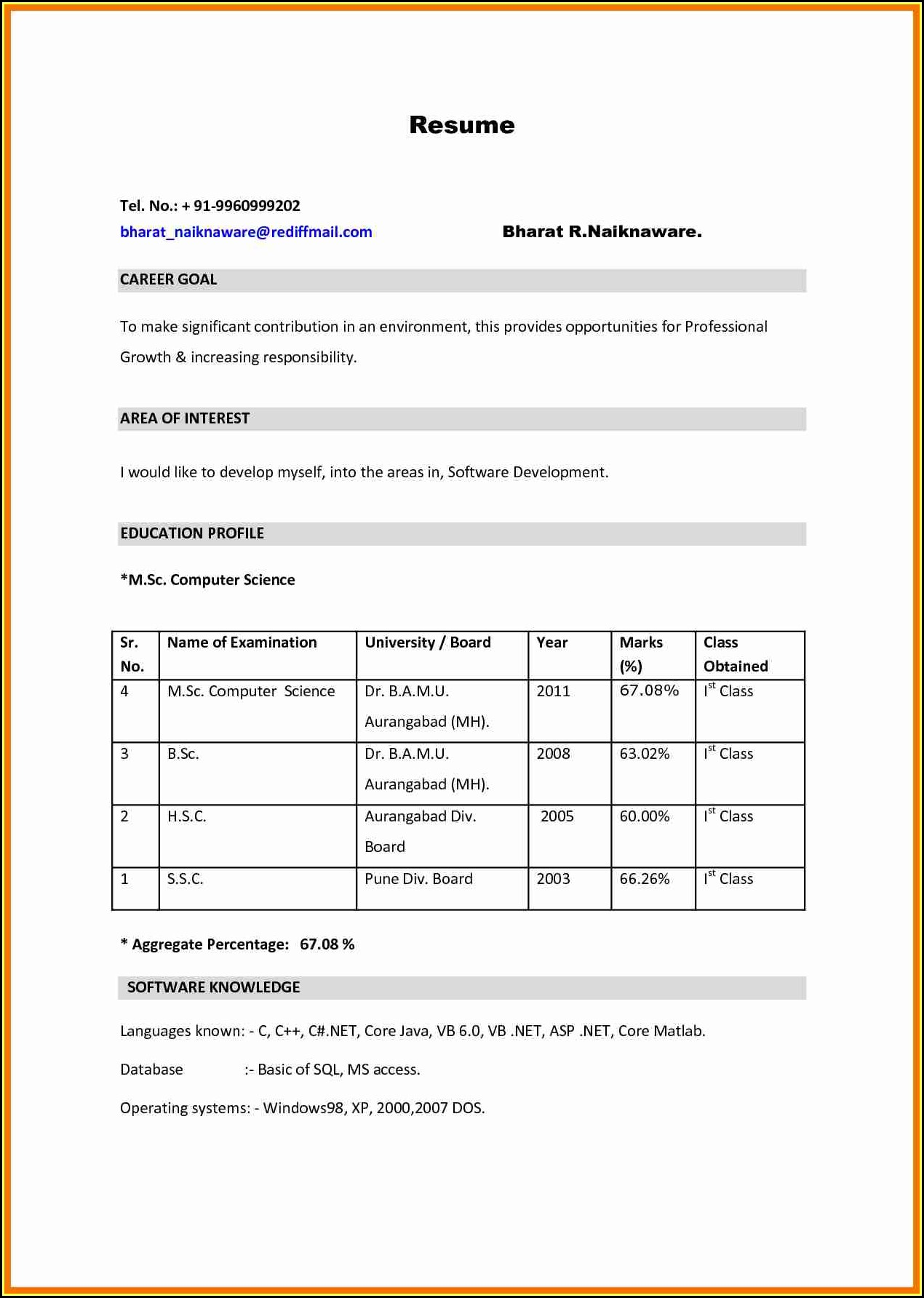 bsc resume format pdf best examples for students nursing experienced emergency management Resume Resume Format For Bsc Students
