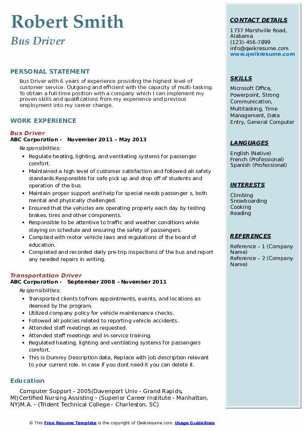 bus driver resume samples qwikresume city sample pdf printable form objective for Resume City Bus Driver Resume Sample