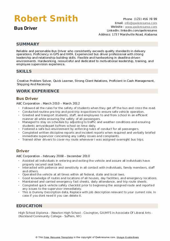 bus driver resume samples qwikresume city sample pdf strong examples objective for Resume City Bus Driver Resume Sample
