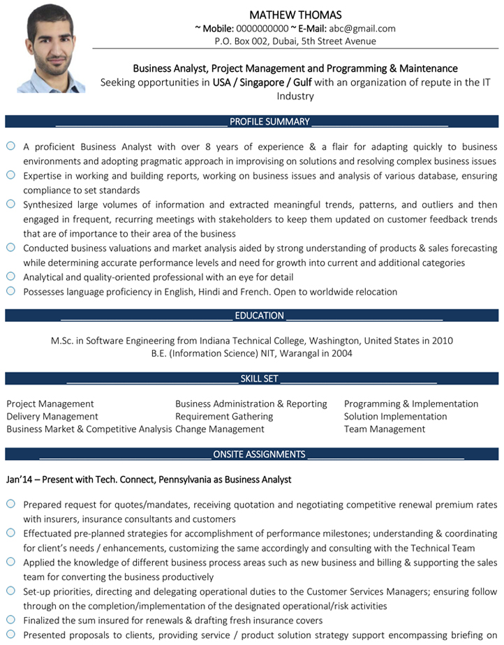 business analyst cv format resume sample and template information technology tactical Resume Information Technology Business Analyst Resume Sample