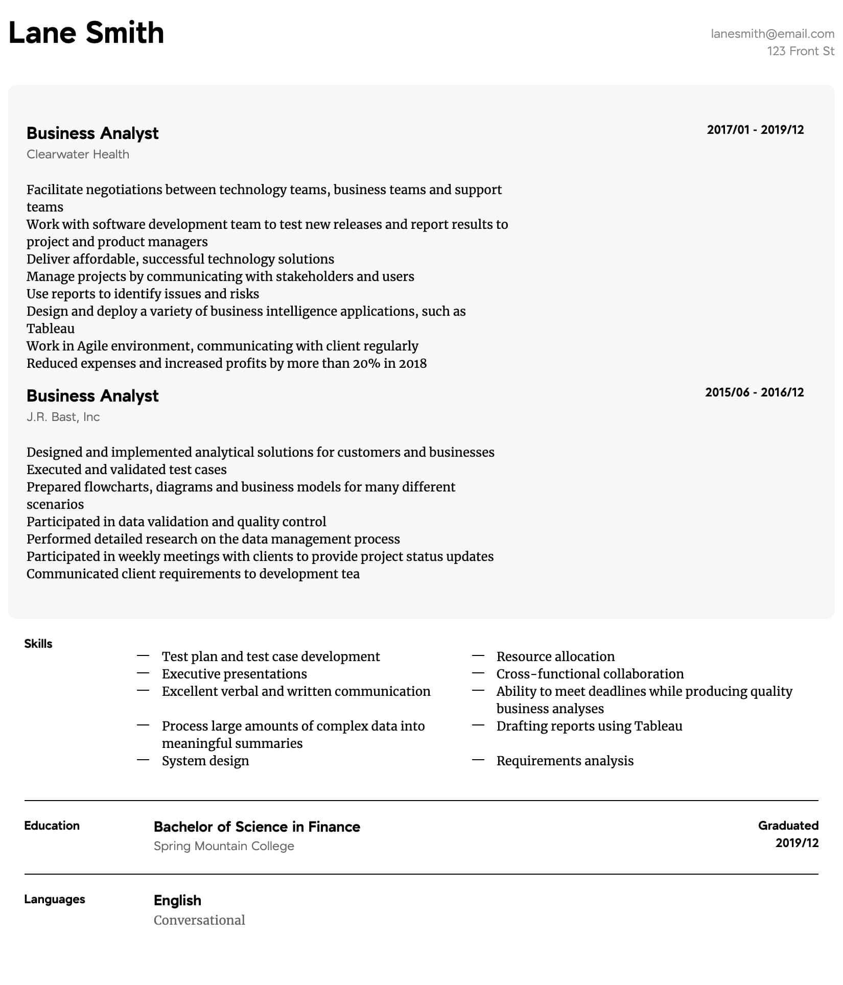 business analyst resume samples all experience levels examples intermediate description Resume Analyst Resume Examples
