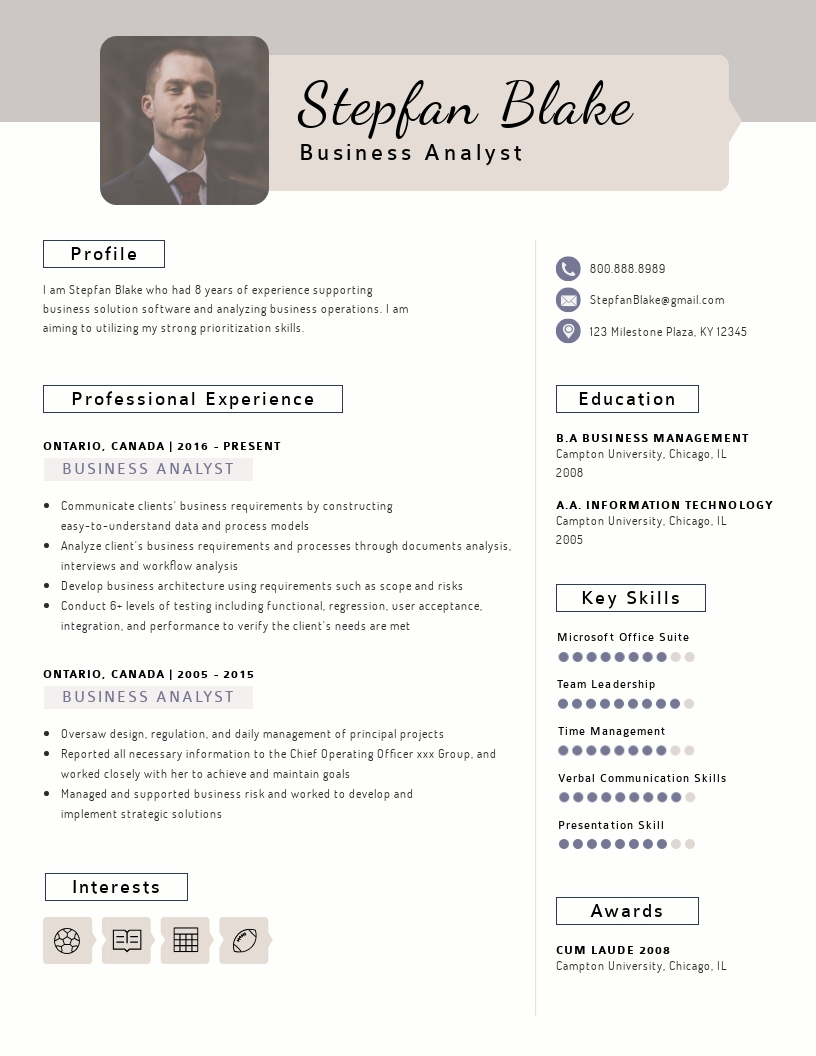 business analyst resume template visme with testing experience full format for taxation Resume Business Analyst Resume With Testing Experience