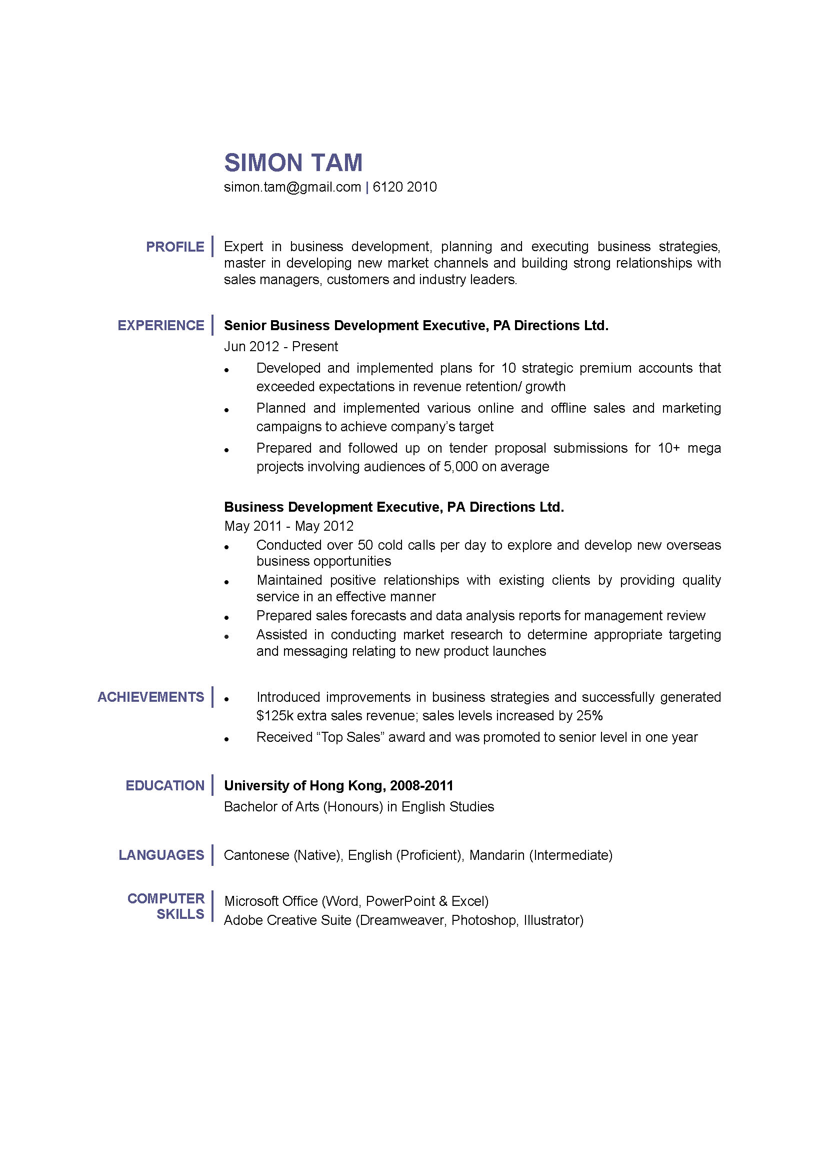 business development executive cv ctgoodjobs powered by career times profile for resume Resume Profile For Business Resume