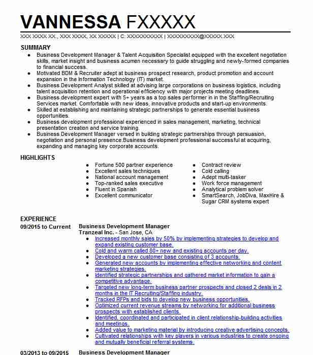 business development manager resume example resumes misc livecareer director of for heb Resume Director Of Business Development Resume