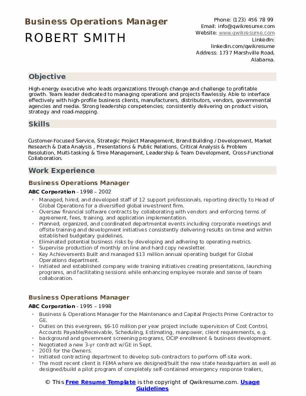business operations manager resume samples qwikresume profile for pdf millennial format Resume Profile For Business Resume