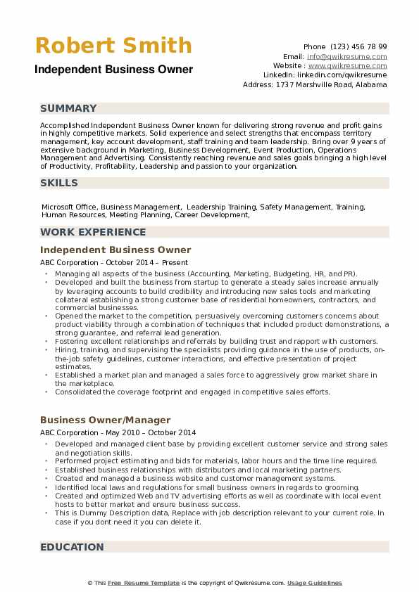 business owner resume samples qwikresume for owning your own pdf carpenter objective Resume Resume For Owning Your Own Business