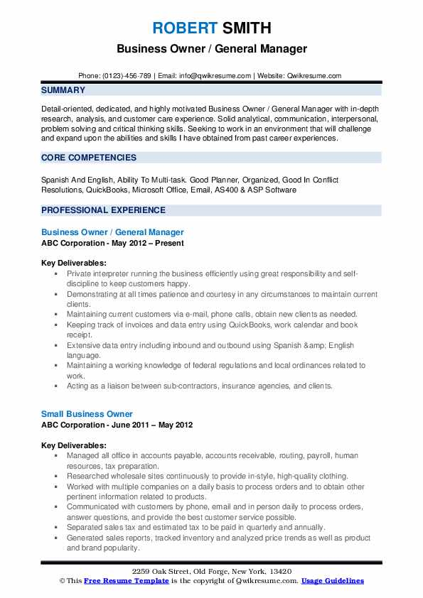 business owner resume samples qwikresume for owning your own pdf college student maker Resume Resume For Owning Your Own Business