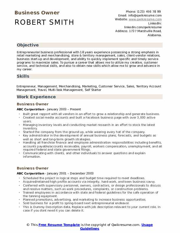 business owner resume samples qwikresume for owning your own pdf title company retail Resume Resume For Owning Your Own Business