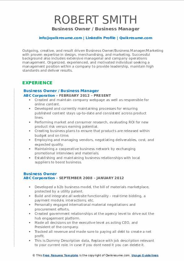 business owner resume samples qwikresume profile for pdf pattern master ats compliant Resume Profile For Business Resume