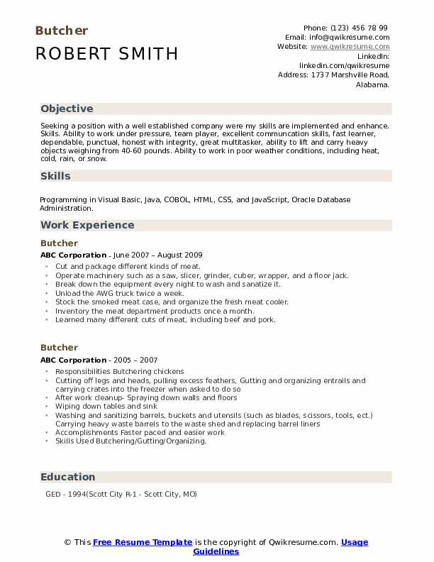 butcher resume samples qwikresume best skills and abilities pdf make free for freshers Resume Best Resume Skills And Abilities